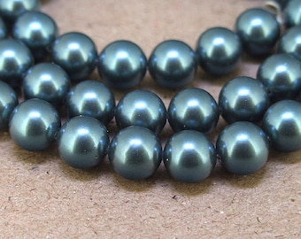 "8mm High Luster Blue South Seashell Pearl beads Round Shell Pearl Full One Strand 15.5"" in length 48beads Per Strand LB1033"