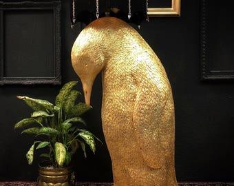 Gold leaf penguin floor lamp