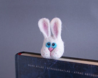 White rabbit bookmark Blue eyes bunny Cute Fun reading Original accessory Bookworm geek teacher pupil school Book Gift for him and her