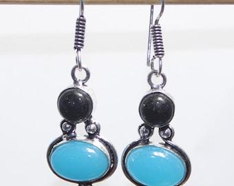 Gorgeous Blue Chalcedony 925 Silver Earrings