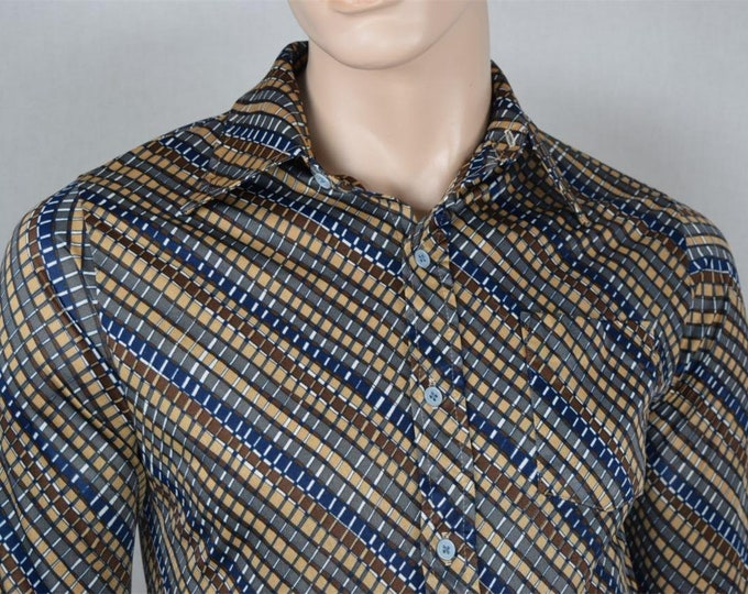 Vintage 1970's Men's Jantzen Striped Pattern Op ArT ReTrO ULtRa MOD DiScO Shirt Size S