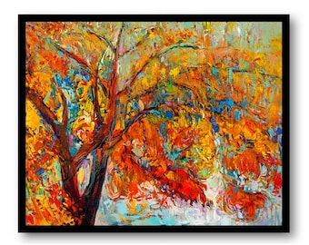 Tree Painting Fine Art Print Trees Watercolor Landscape Painting Red Orange Yellow Blue Wall Decor Bedroom Bathroom Living Room Poster