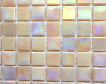 """15mm (3/5"""") Peach Pink IRIDESCENT Glass Mosaic Tiles //Craft Supplies//Mosaic//Mosaic Supplies"""