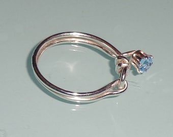 Aquamarine Sterling Silver Friendship Knot Ring