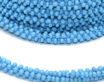 1 meter cord beaded turquoise 3D 06mm