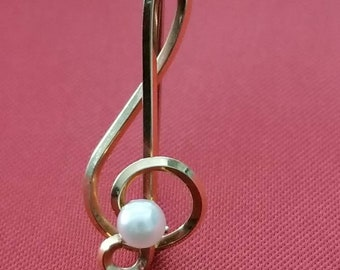 Krementz Pearl Music Clef Pin/Brooch