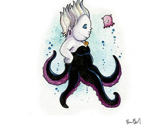 Ursula the Sea Witch Inspired Watercolor Print