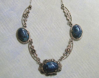 Antique 1920's Art Deco Sterling Marcasite Necklace, Art Deco Necklace, Sterling Sodalite Marcasite Necklace (#976)