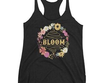 Bloom Floral - Ladies Triblend Racerback Tank - Charcoal - Eco Friendly Printing