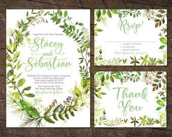 Greenery Wedding invitation, Woodsy Wedding invite, Printable Wedding Invite set, Green wedding Invite, Outdoor Wedding, Botanical wedding