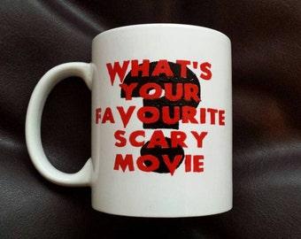 Hand painted mug inspired by the movie Scream