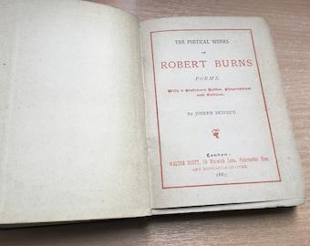Poetical Works of Robert Burns Poems Walter Scott London 1887 Antique Blue Cover Hardback Book