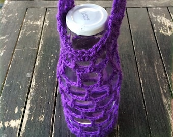 SALE ~ Water Bottle Holder ~ Purple Bloom ~ Handmade & Crochet ~ Zero waste.