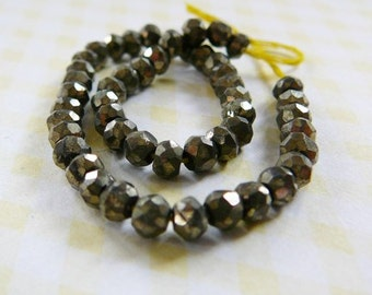 Gemstone Bead, Pyrite Faceted 4mm Rondel, half strand jewelry supplies