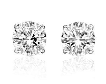 1/2ct Natural Round Diamond Stud Earrings 14k White Gold Studs