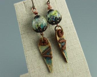 Rustic Earrings, Boho Earrings, Rustic Boho Earrings, Gypsy Earrings, Earthy Earrings, Primitive Earrings,  #669-114