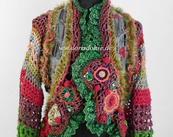 Crochet Hippie Jacket, 70s style,old lace and effektive Details,Slow fashion, Exclusive dress,Frida Kahlo clothing,nuno felting,flower power