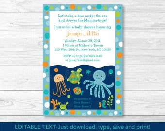 Under the Sea Octopus Crab Turtle Nautical Baby Shower Invitation INSTANT DOWNLOAD Editable PDF A279