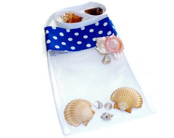 Sea Shell Collecting, Mesh Beachcomber Bag, Beach or Pool Toy Bag, Blue Polka Dot Cross Body Tote, Gift For Kids or Adults