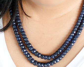 2 Strand Sapphire Necklace Sapphire Mala