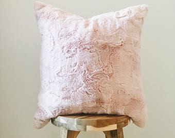 "PINK FUR - 18x18"" Pillow Cover, Pink/Natural"