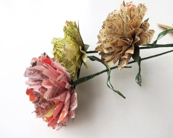 Paper Flowers 3 Eternal Carnations with Vintage Mixed Media