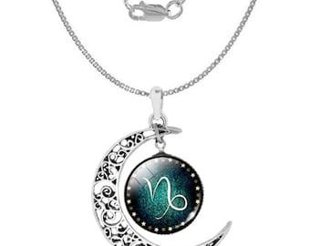 Capricorn 925 Silver Crescent Moon Necklace