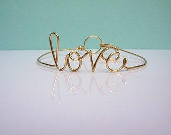 Friendship Bracelet. Love Bracelet. Gold wire love Bracelet.  Love Bangle Bracelet