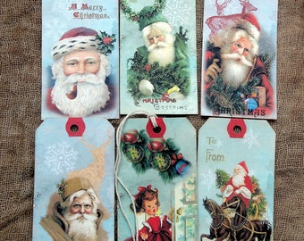Vintage Style Mixed Santa Christmas Gift or Scrapbook Tags #T 41