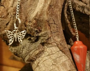 Red Jasper Pendulum with Silver tone Butterfly