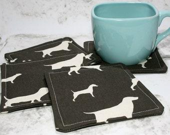 Brown & White Dog Coasters, Set of 4