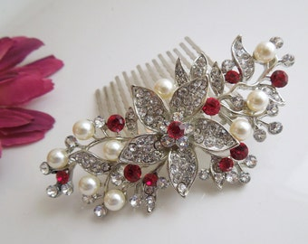 swarovski hair comb, crystal hair comb, pearl hair comb, rhinestone hair comb, wedding hair comb, vintage style, red hair comb, KATY