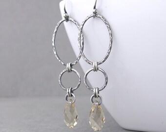 Boho Earrings Long Dangle Earrings Beaded Crystal Earrings Geometric Jewelry Bohemian Jewelry Mother's Day Gift for Her - Adorned Aubrey