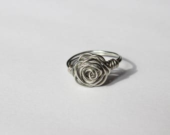 Silver Wire Wrapped Rose Ring, Wire Ring, Silver, Wire Wrapped Jewelry, For Her, Bridesmaids Ring