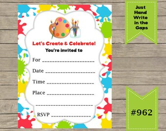 DIY - FILL IN Yourself Art/ Create Party childrens Birthday Invitation