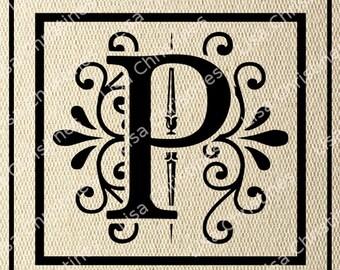 Ornamental Monogram Letter P Digital Image Instant Download 164