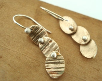 Overlapping Textured Bronze Ovals and Balled Silver Hinge Earrings