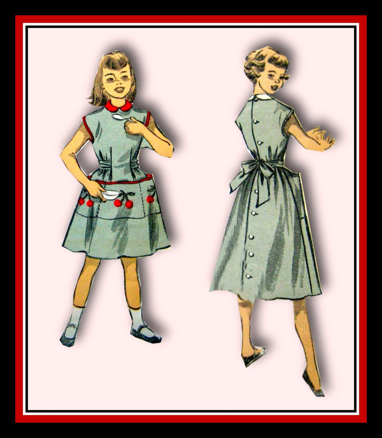 Vintage 1953-GIRL'S APRON DRESS-Sewing Pattern-Two