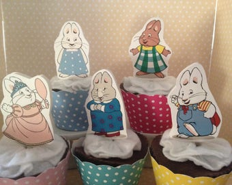 Max and Ruby Party Cupcake Topper Decorations - Set of 10