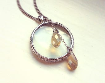 Magnifying glass necklace, Silver plated Monocle pendant, Swarovski Elements Crystal Briolette beads