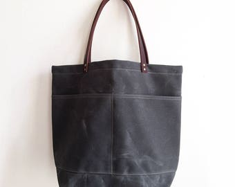 Gray Large Everyday Tote, Waxed Canvas Bag, Waxed Canvas Tote, Canvas Tote Bag, Carry All, Minimalist Style, Everyday Carry Bag, Simple Tote
