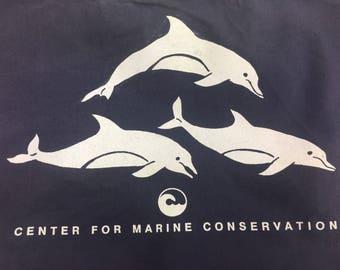 Vintage canvas tote Center for marine conservation, navy blue cotton canvas market bag