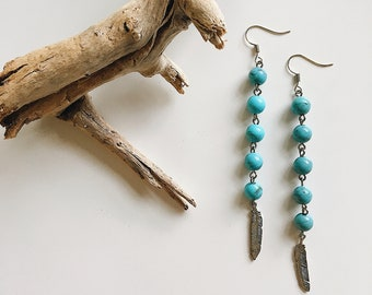 Turquoise Feather Earrings...