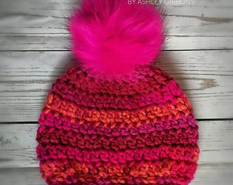 Hot pink pom pom crochet hat