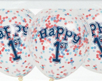 "Confetti Balloons, Happy 1st, Pack of 6, 12"" balloons, Red and Blue confetti, Birthday Confetti, Birthday Balloons, I am one, 1st birthday"