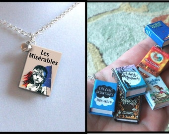 Les Miserables with Tiny Heart Charm -Micro Mini Book Necklace
