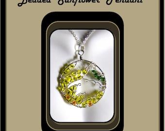 sunflower lovers gift ,Summer jewelry ,sunflower jewelry,Sunflower - bird house - wife gift ,mother gift - sun flowers, sunflower necklace,