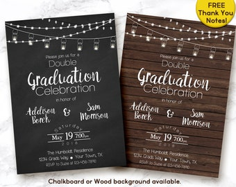 Double graduation invitation, double graduation party invitation, joint graduation invitation, digital invitation