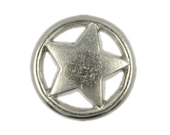 Metal Buttons - Ring and Star Matte Silver Metal Shank Buttons - 15mm - 5/8 inch - 6 pcs