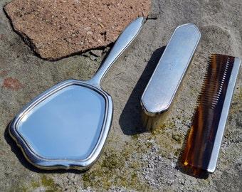 SALE Art Deco sterling silver vanity set/vintage grooming set/silver brush comb mirror/engine turned/monogrammed/hallmarked